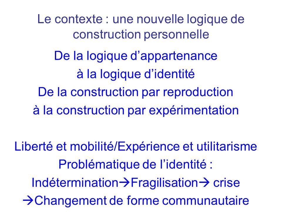 Le contexte : une nouvelle logique de construction personnelle Subjectivation du bien et du vrai expérimentation utilitarisme pragmatisme relativisme Authenticité relationisme