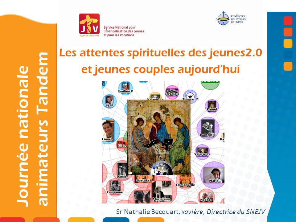Les attentes spirituelles des jeunes2.0 et jeunes couples aujourdhui Journée nationale animateurs Tandem Sr Nathalie Becquart, xavière, Directrice du