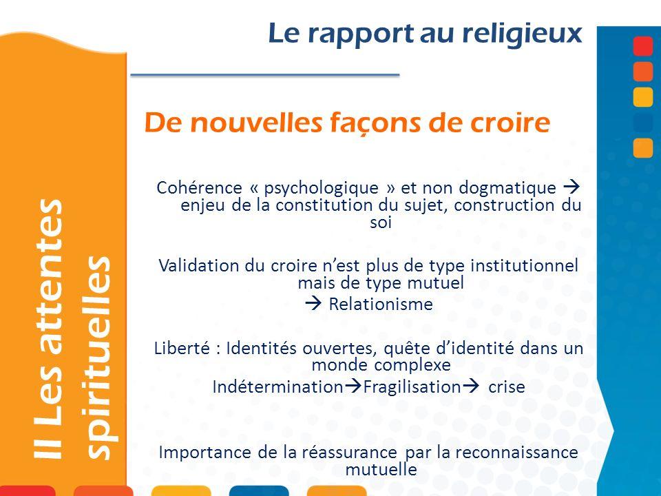 De nouvelles façons de croire II Les attentes spirituelles Le rapport au religieux Cohérence « psychologique » et non dogmatique enjeu de la constitut