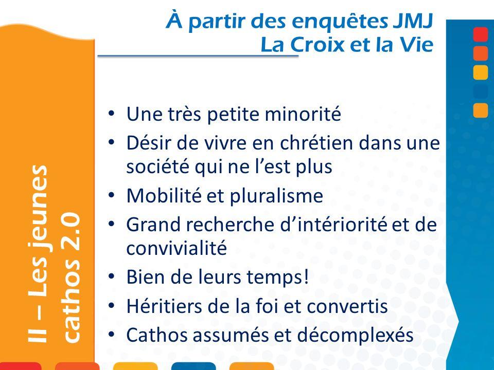 II – Les jeunes cathos 2.0 À partir des enquêtes JMJ La Croix et la Vie Une très petite minorité Désir de vivre en chrétien dans une société qui ne le