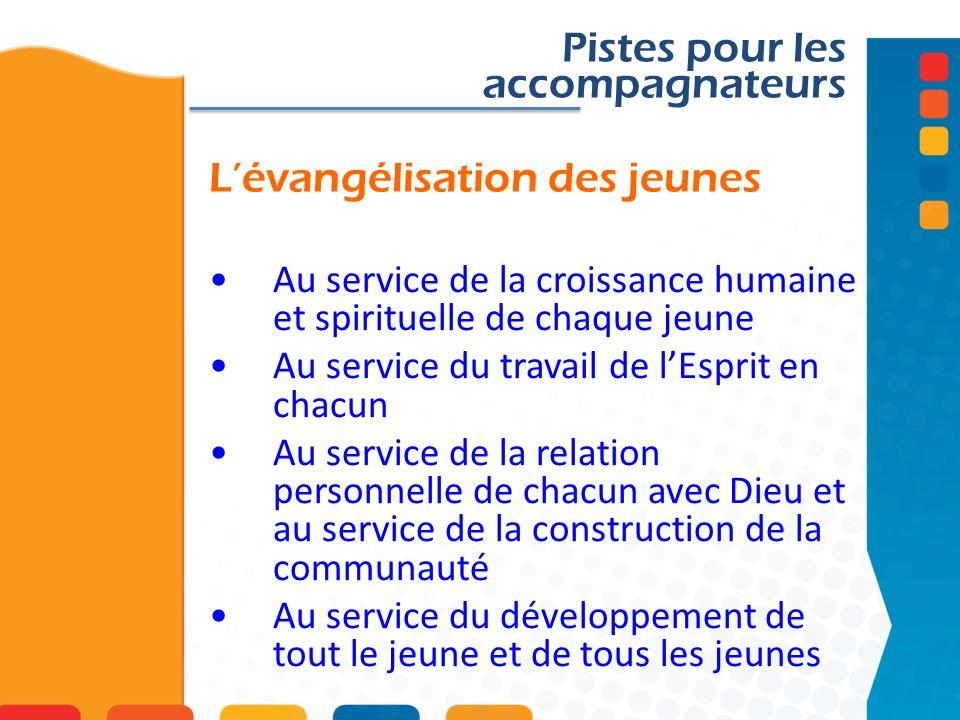 Lévangélisation des jeunes Pistes pour les accompagnateurs Au service de la croissance humaine et spirituelle de chaque jeune Au service du travail de