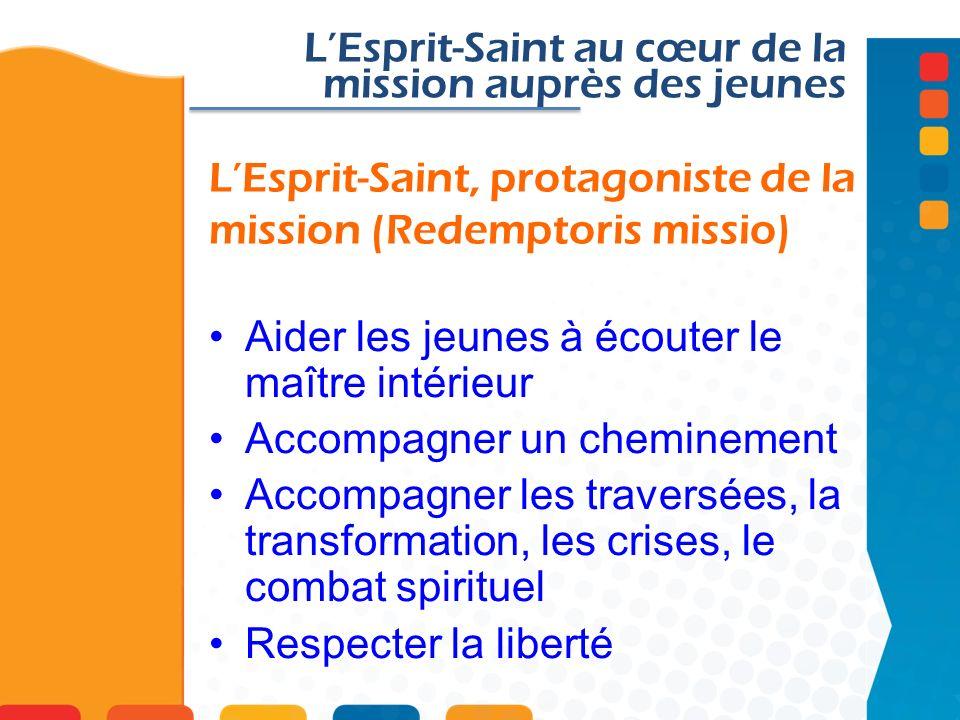 LEsprit-Saint, protagoniste de la mission (Redemptoris missio) LEsprit-Saint au cœur de la mission auprès des jeunes Aider les jeunes à écouter le maî