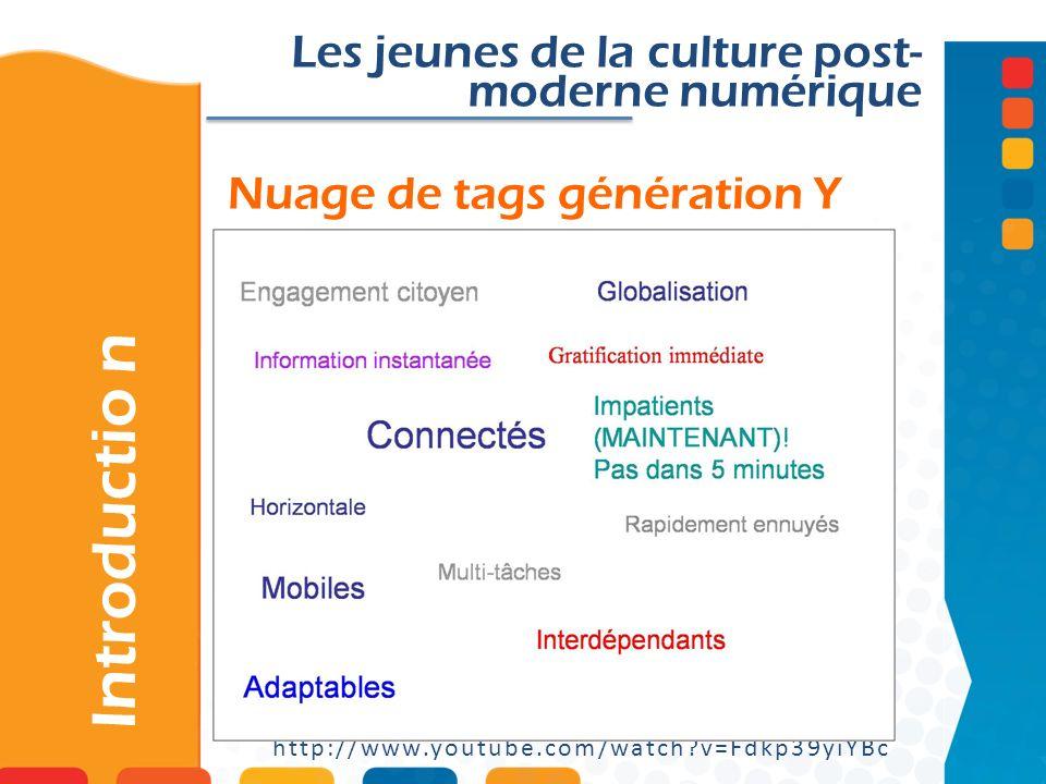 Nuage de tags génération Y Les jeunes de la culture post- moderne numérique http://www.youtube.com/watch?v=Fdkp39yiYBc Introductio n