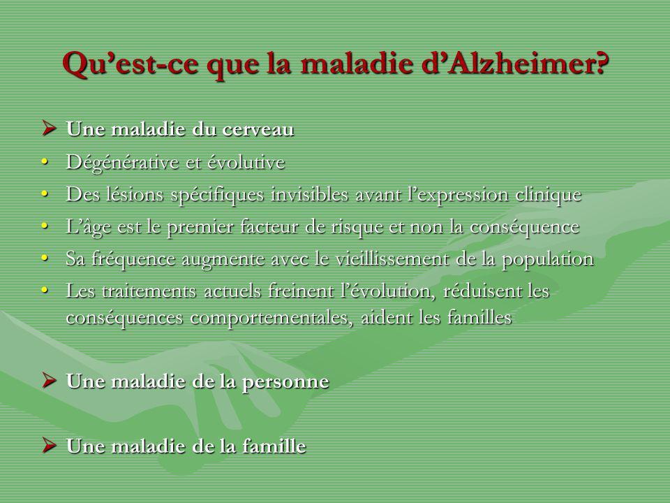 Quest-ce que la maladie dAlzheimer? Une maladie du cerveau Une maladie du cerveau Dégénérative et évolutiveDégénérative et évolutive Des lésions spéci