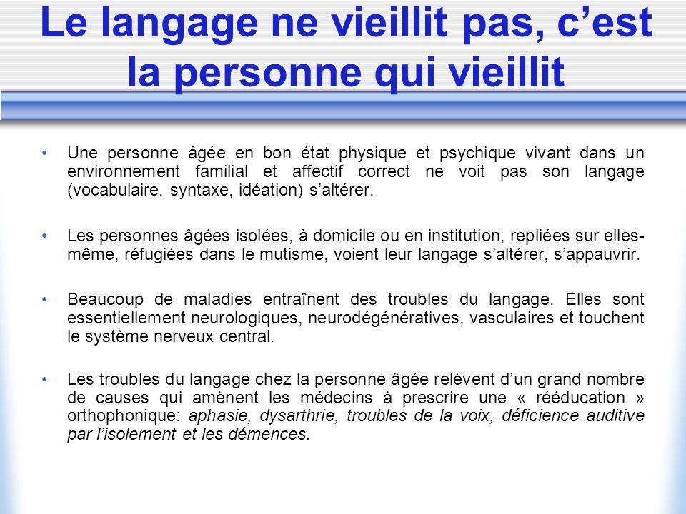 Le langage ne vieillit pas, cest la personne qui vieillit Une personne âgée en bon état physique et psychique vivant dans un environnement familial et
