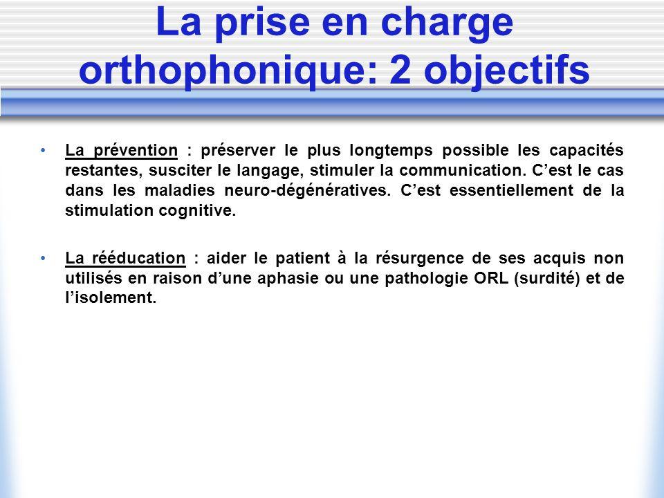 La prise en charge orthophonique: 2 objectifs La prévention : préserver le plus longtemps possible les capacités restantes, susciter le langage, stimu