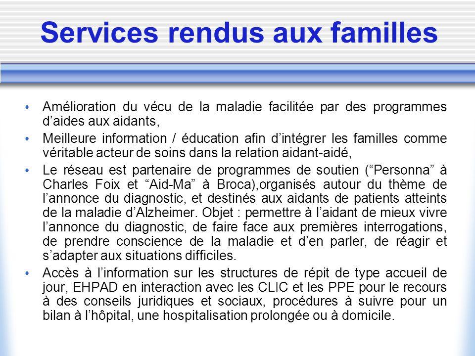 Services rendus aux familles Amélioration du vécu de la maladie facilitée par des programmes daides aux aidants, Meilleure information / éducation afi