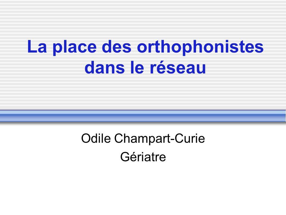 La place des orthophonistes dans le réseau Odile Champart-Curie Gériatre