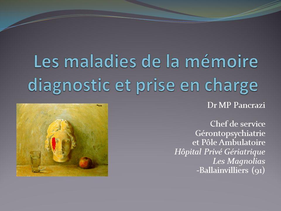 Dr MP Pancrazi Chef de service Gérontopsychiatrie et Pôle Ambulatoire Hôpital Privé Gériatrique Les Magnolias -Ballainvilliers (91)