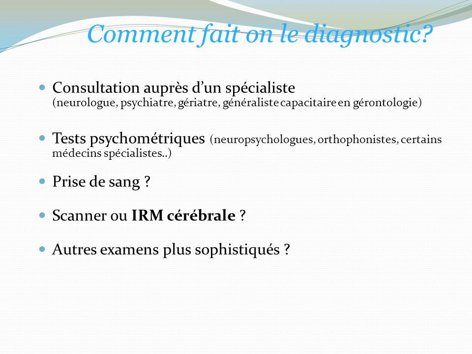 Consultation auprès dun spécialiste (neurologue, psychiatre, gériatre, généraliste capacitaire en gérontologie) Tests psychométriques (neuropsychologues, orthophonistes, certains médecins spécialistes..) Prise de sang .