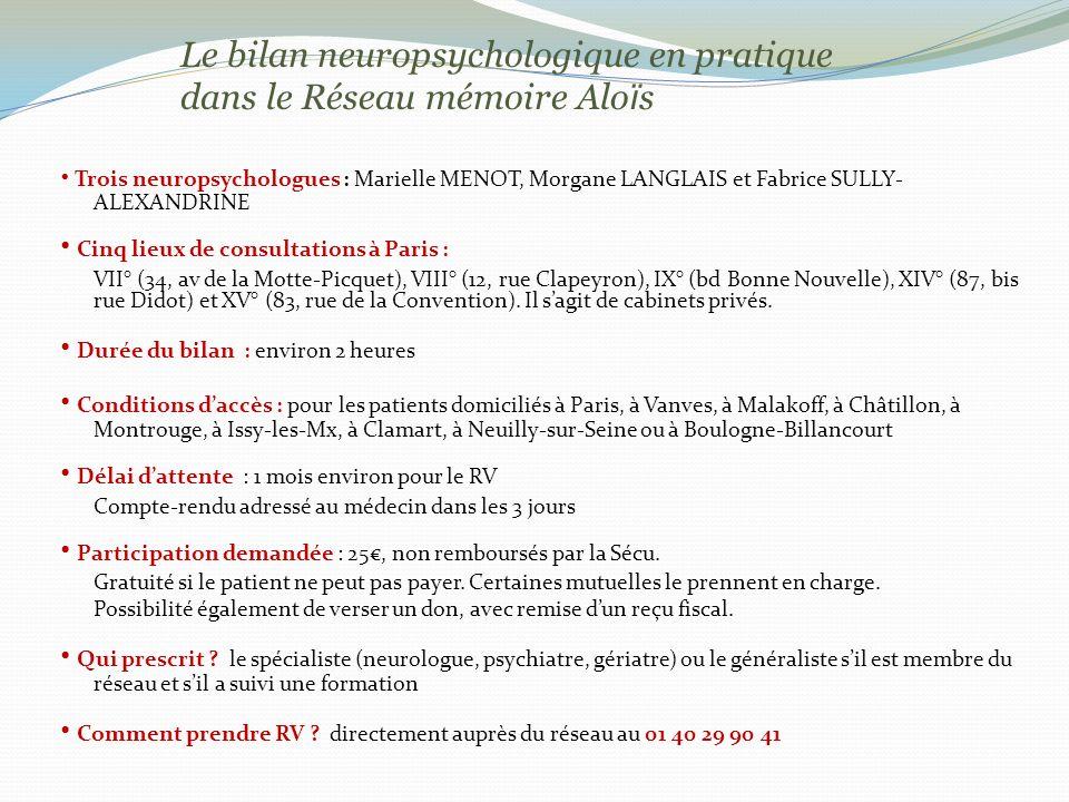 Le bilan neuropsychologique en pratique dans le Réseau mémoire Alo ï s Trois neuropsychologues : Marielle MENOT, Morgane LANGLAIS et Fabrice SULLY- ALEXANDRINE Cinq lieux de consultations à Paris : VII° (34, av de la Motte-Picquet), VIII° (12, rue Clapeyron), IX° (bd Bonne Nouvelle), XIV° (87, bis rue Didot) et XV° (83, rue de la Convention).