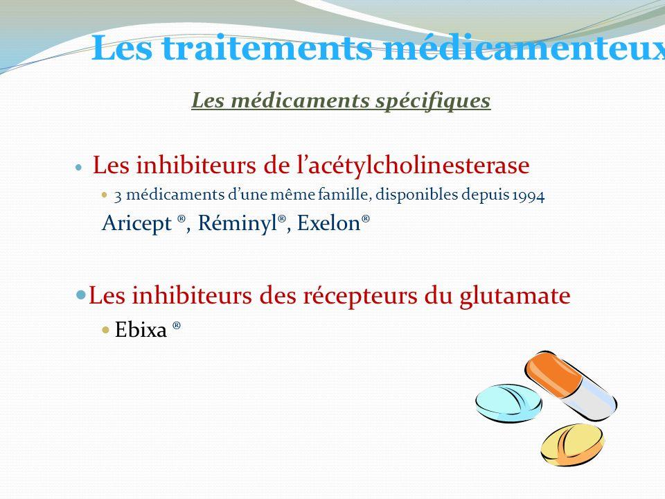 Les inhibiteurs de lacétylcholinesterase 3 médicaments dune même famille, disponibles depuis 1994 Aricept ®, Réminyl®, Exelon® Les inhibiteurs des récepteurs du glutamate Ebixa ® Les traitements médicamenteux Les médicaments spécifiques