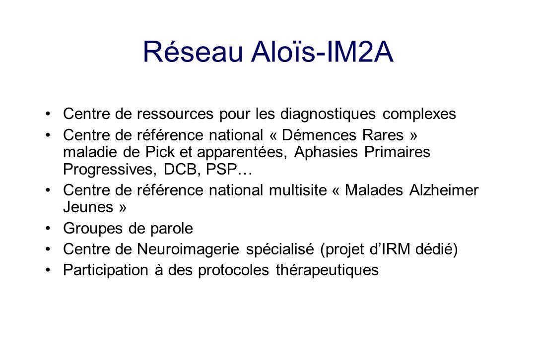 Réseau Aloïs-IM2A Centre de ressources pour les diagnostiques complexes Centre de référence national « Démences Rares » maladie de Pick et apparentées