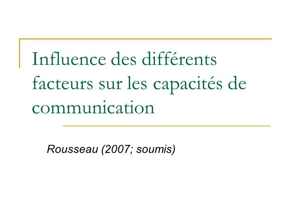 Influence des différents facteurs sur les capacités de communication Rousseau (2007; soumis)