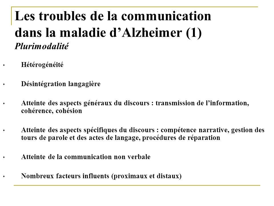 Les troubles de la communication dans la maladie dAlzheimer (1) Plurimodalité Hétérogénéité Désintégration langagière Atteinte des aspects généraux du