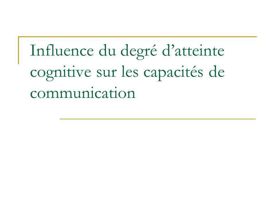 Influence du degré datteinte cognitive sur les capacités de communication