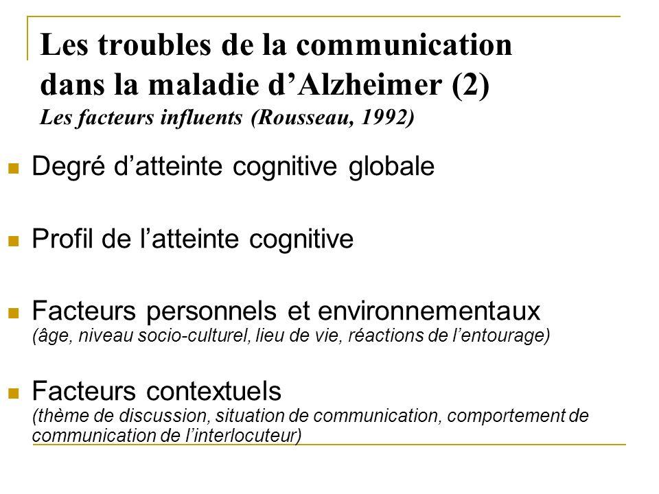 Les troubles de la communication dans la maladie dAlzheimer (2) Les facteurs influents (Rousseau, 1992) Degré datteinte cognitive globale Profil de la