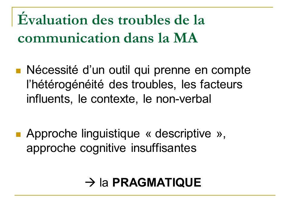 Évaluation des troubles de la communication dans la MA Nécessité dun outil qui prenne en compte lhétérogénéité des troubles, les facteurs influents, l