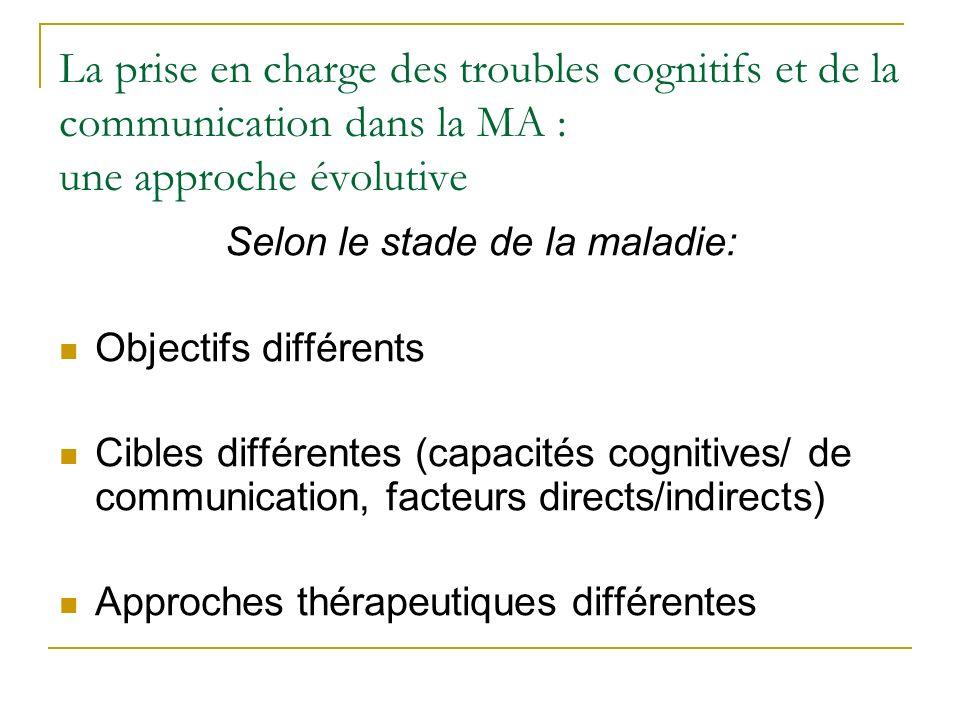 La prise en charge des troubles cognitifs et de la communication dans la MA : une approche évolutive Selon le stade de la maladie: Objectifs différent