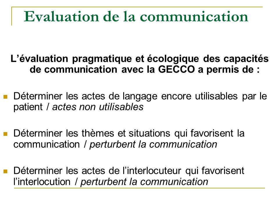 Evaluation de la communication Lévaluation pragmatique et écologique des capacités de communication avec la GECCO a permis de : Déterminer les actes d