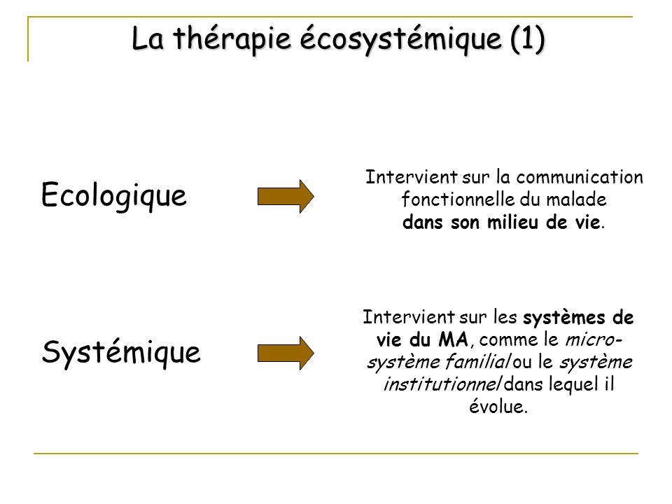 La thérapie écosystémique (1) Ecologique Intervient sur la communication fonctionnelle du malade dans son milieu de vie. Systémique Intervient sur les