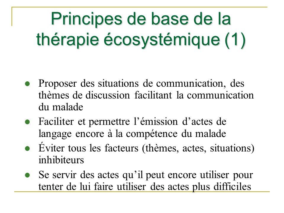Principes de base de la thérapie écosystémique (1) l Proposer des situations de communication, des thèmes de discussion facilitant la communication du