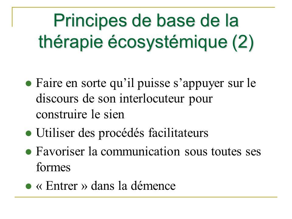 Principes de base de la thérapie écosystémique (2) l Faire en sorte quil puisse sappuyer sur le discours de son interlocuteur pour construire le sien