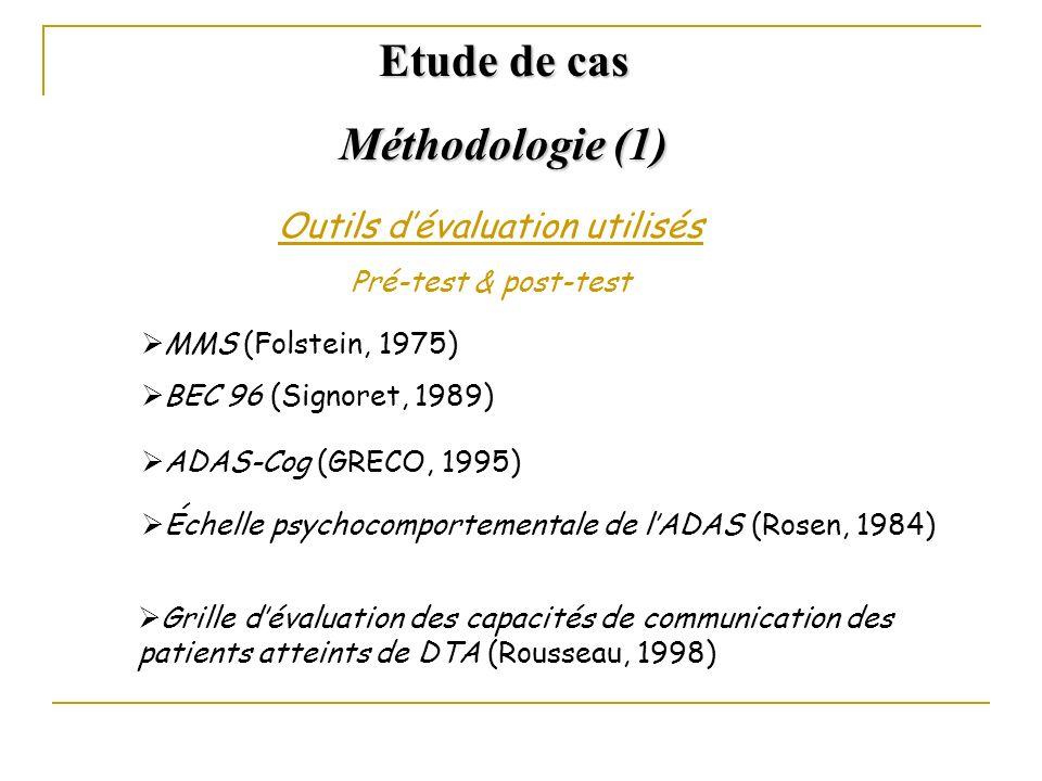 Outils dévaluation utilisés Pré-test & post-test MMS (Folstein, 1975) BEC 96 (Signoret, 1989) ADAS-Cog (GRECO, 1995) Échelle psychocomportementale de