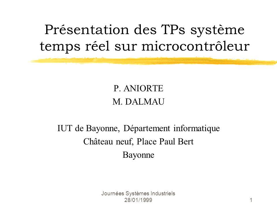Journées Systèmes Industriels 28/01/199922 Application de synthèse 1 ère séance (suite) Test visuel : tpot.1pot.2LED 1LED 2 t1OVOVéteinteéteinte t21VOVéteinteéteinte t31V5Véteinteallumée t41V4Véteinteallumée
