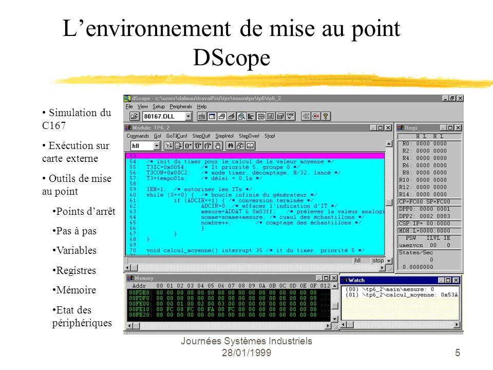 Journées Systèmes Industriels 28/01/19996 Le noyau Temps Réel RTX166 Généralités Multitâche préemptif / priorité â 2 classes de tâches.