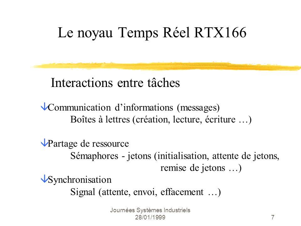 Journées Systèmes Industriels 28/01/199918 ; initialisation des lignes de commande des LEDs bsetDP8.0; ligne en sortie (LED 1) bsetDP8.1; ligne en sortie (LED 2) extr#1 bclrODP8.0; niveau TTL bclrP8.0; initialement à 0 bclrP8.1 ; initialisation du convertisseur A/N movADCIC,#004Ch ; It de fin de conversion ; signalée (priorité 3) movADEIC,#0; pas d IT de perte d info movADCON,#02B1h; canaux 0 et 1, mode continu, ; conv.