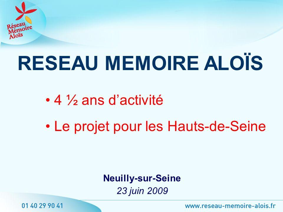 Neuilly-sur-Seine 23 juin 2009 RESEAU MEMOIRE ALOÏS 4 ½ ans dactivité Le projet pour les Hauts-de-Seine