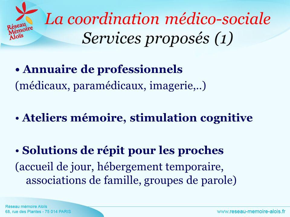 La coordination médico-sociale Services proposés (1) Annuaire de professionnels (médicaux, paramédicaux, imagerie,..) Ateliers mémoire, stimulation co