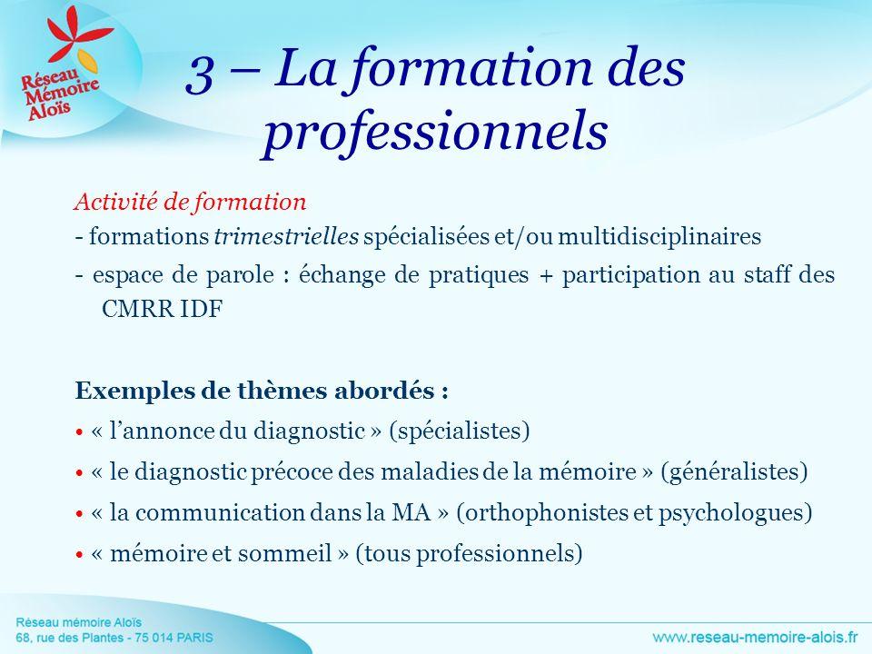 3 – La formation des professionnels Activité de formation - formations trimestrielles spécialisées et/ou multidisciplinaires - espace de parole : écha
