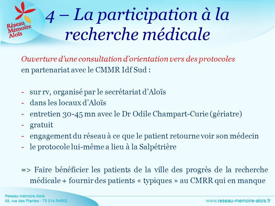 4 – La participation à la recherche médicale Ouverture dune consultation dorientation vers des protocoles en partenariat avec le CMMR Idf Sud : -sur r