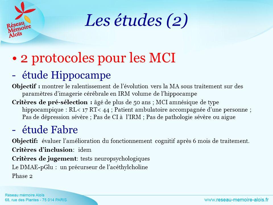 Les études (2) 2 protocoles pour les MCI -étude Hippocampe Objectif : montrer le ralentissement de lévolution vers la MA sous traitement sur des param