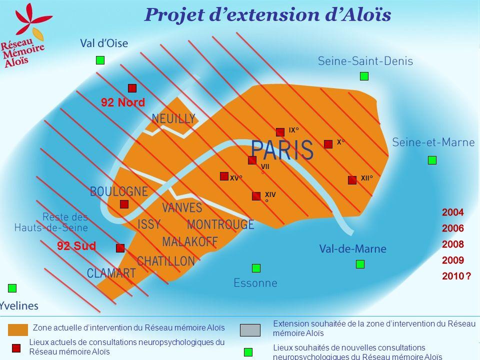 XV° Lieux actuels de consultations neuropsychologiques du Réseau mémoire Aloïs Lieux souhaités de nouvelles consultations neuropsychologiques du Résea