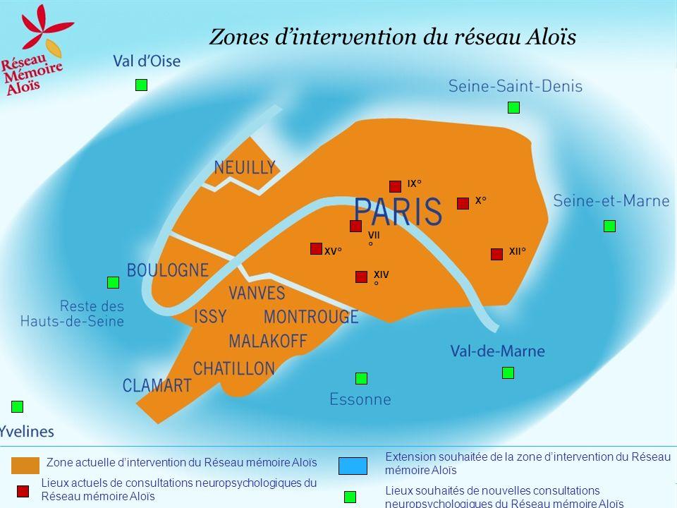 Zones dintervention du réseau Aloïs XV° Lieux actuels de consultations neuropsychologiques du Réseau mémoire Aloïs Lieux souhaités de nouvelles consul