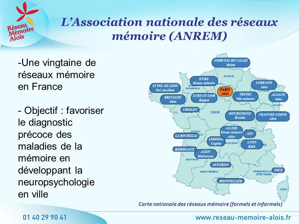 LAssociation nationale des réseaux mémoire (ANREM) Carte nationale des réseaux mémoire (formels et informels) -Une vingtaine de réseaux mémoire en Fra