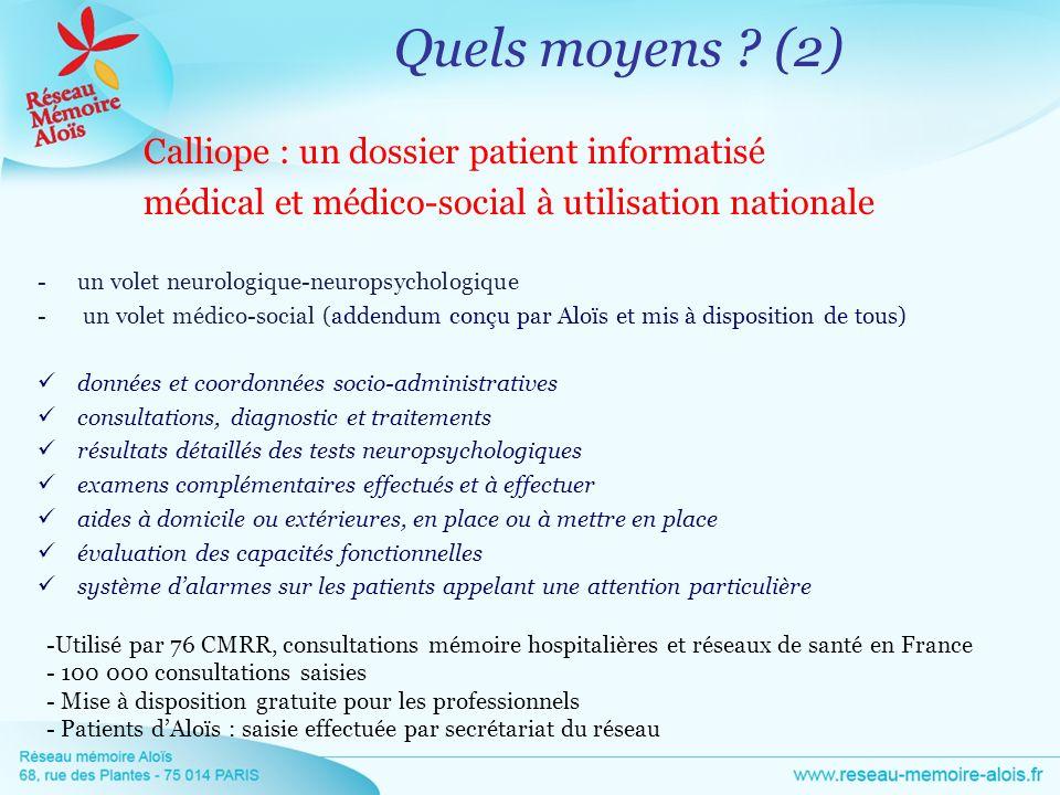 Calliope : un dossier patient informatisé médical et médico-social à utilisation nationale -un volet neurologique-neuropsychologique - un volet médico