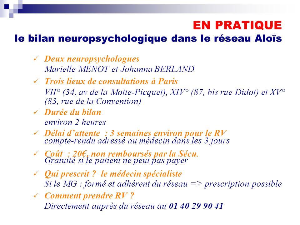 EN PRATIQUE le bilan neuropsychologique dans le réseau Aloïs Deux neuropsychologues Marielle MENOT et Johanna BERLAND Trois lieux de consultations à P