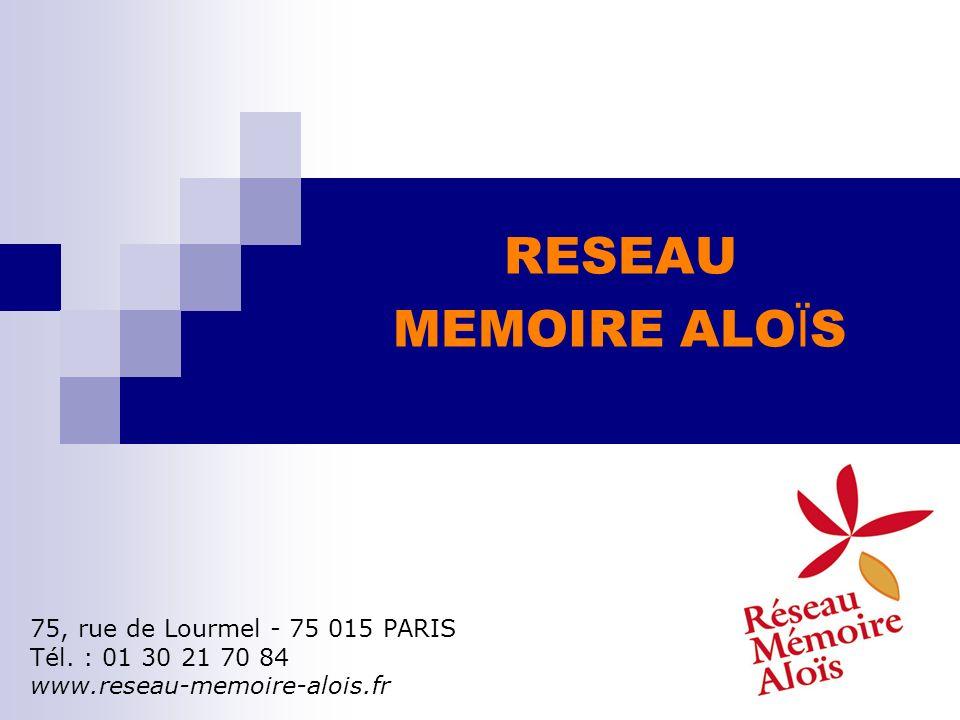 RESEAU MEMOIRE ALO Ï S 75, rue de Lourmel - 75 015 PARIS Tél. : 01 30 21 70 84 www.reseau-memoire-alois.fr