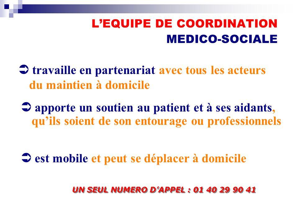 LEQUIPE DE COORDINATION MEDICO-SOCIALE Ü travaille en partenariat avec tous les acteurs du maintien à domicile Ü apporte un soutien au patient et à se
