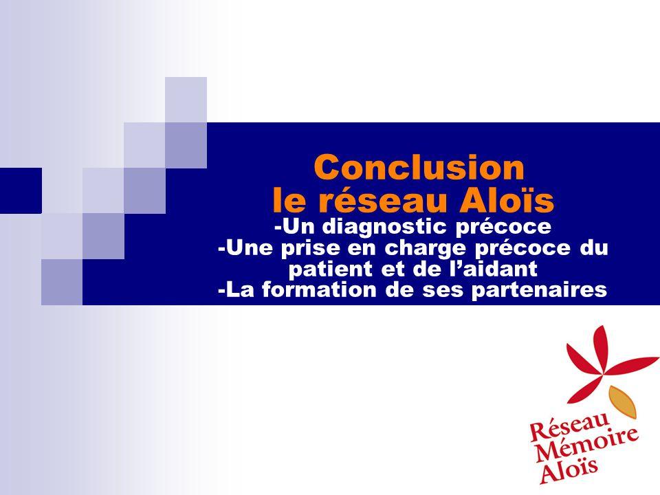 Conclusion le réseau Aloïs -Un diagnostic précoce -Une prise en charge précoce du patient et de laidant -La formation de ses partenaires