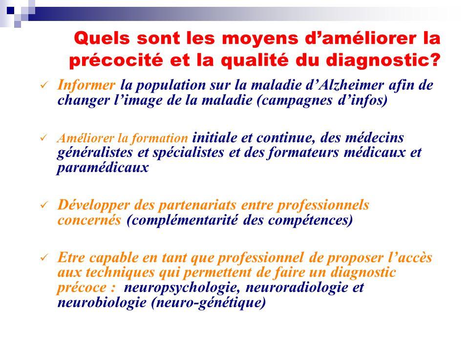 Quels sont les moyens daméliorer la précocité et la qualité du diagnostic? Informer la population sur la maladie dAlzheimer afin de changer limage de
