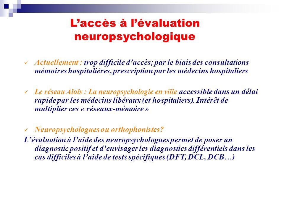 Laccès à lévaluation neuropsychologique Actuellement : trop difficile daccès; par le biais des consultations mémoires hospitalières, prescription par