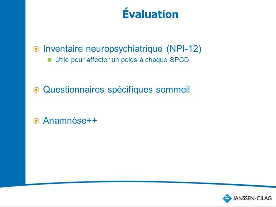 Évaluation Inventaire neuropsychiatrique (NPI-12) Utile pour affecter un poids à chaque SPCD Questionnaires spécifiques sommeil Anamnèse++