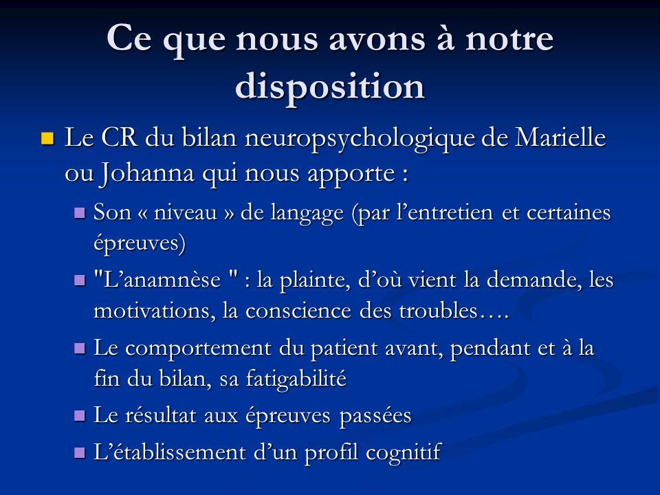 Ce que nous avons à notre disposition Le CR du bilan neuropsychologique de Marielle ou Johanna qui nous apporte : Le CR du bilan neuropsychologique de