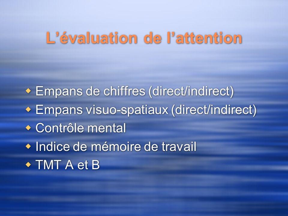 Lévaluation de lattention Empans de chiffres (direct/indirect) Empans visuo-spatiaux (direct/indirect) Contrôle mental Indice de mémoire de travail TMT A et B Empans de chiffres (direct/indirect) Empans visuo-spatiaux (direct/indirect) Contrôle mental Indice de mémoire de travail TMT A et B