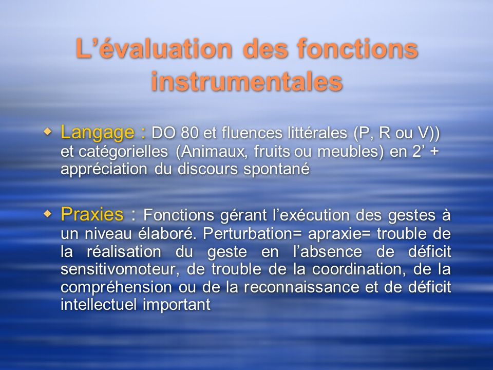 Lévaluation des fonctions instrumentales Langage : DO 80 et fluences littérales (P, R ou V)) et catégorielles (Animaux, fruits ou meubles) en 2 + appr